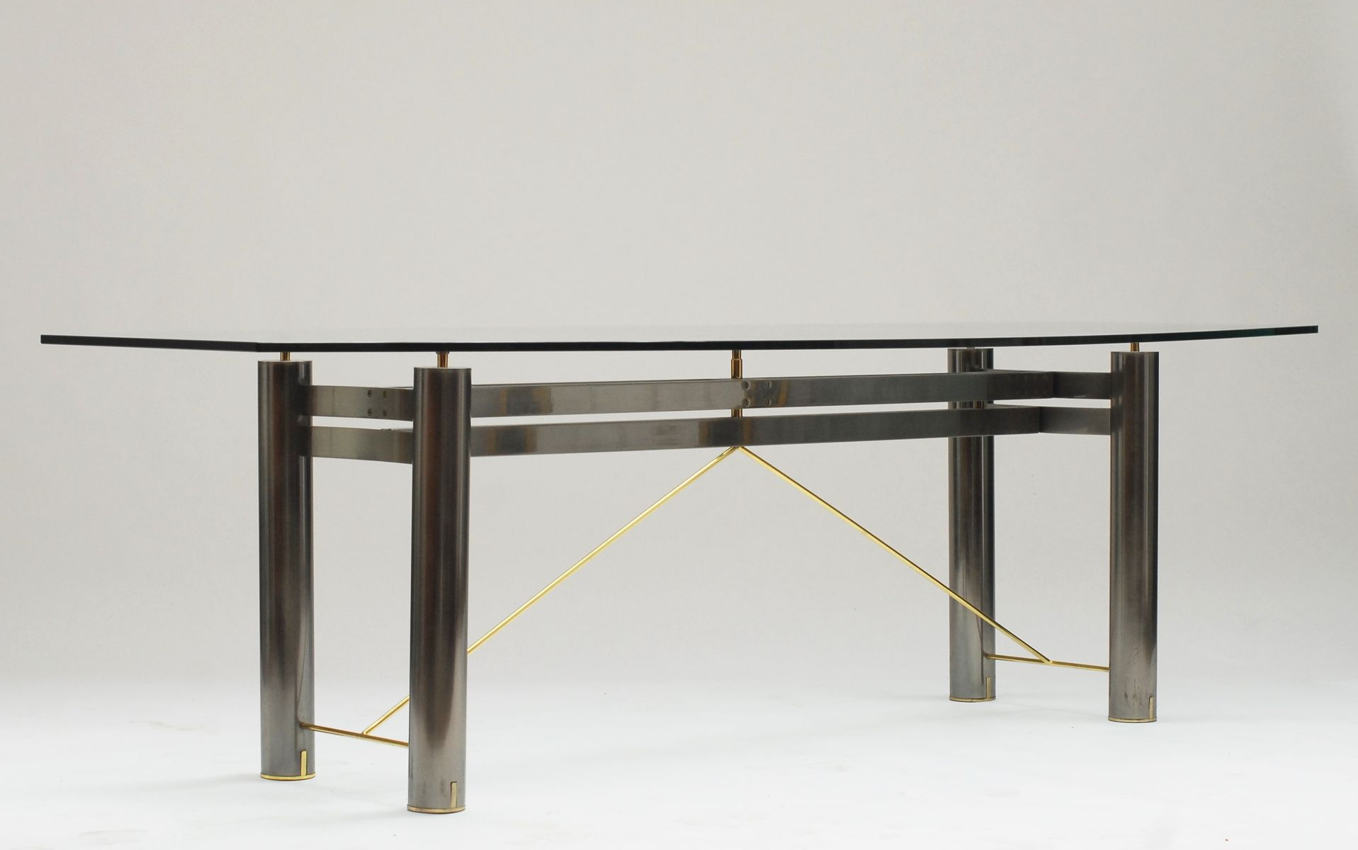 Vintage Glass And Steel Dining Table From Belgochrom