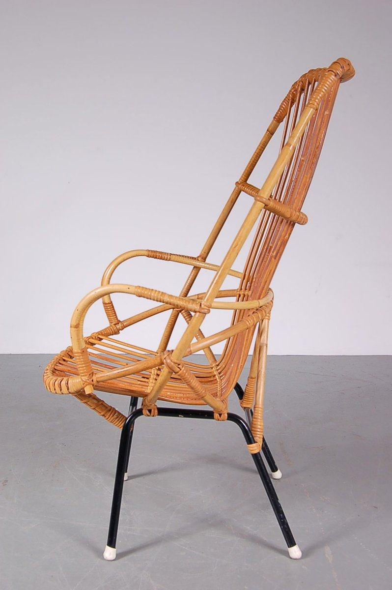rattan sessel mit hoher r ckenlehne von dirk van. Black Bedroom Furniture Sets. Home Design Ideas