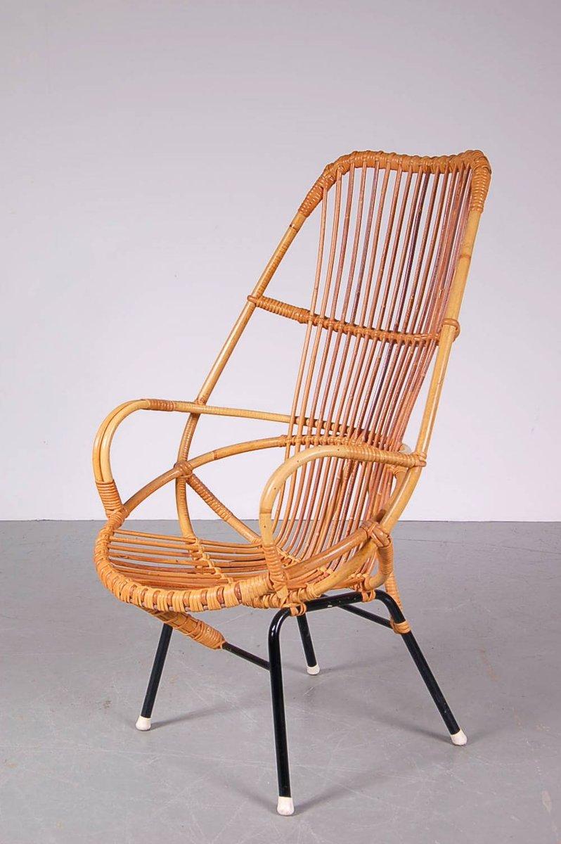 fauteuil en rotin avec dossier haut par dirk van sliedrecht pour gebroeders jonkers pays bas. Black Bedroom Furniture Sets. Home Design Ideas