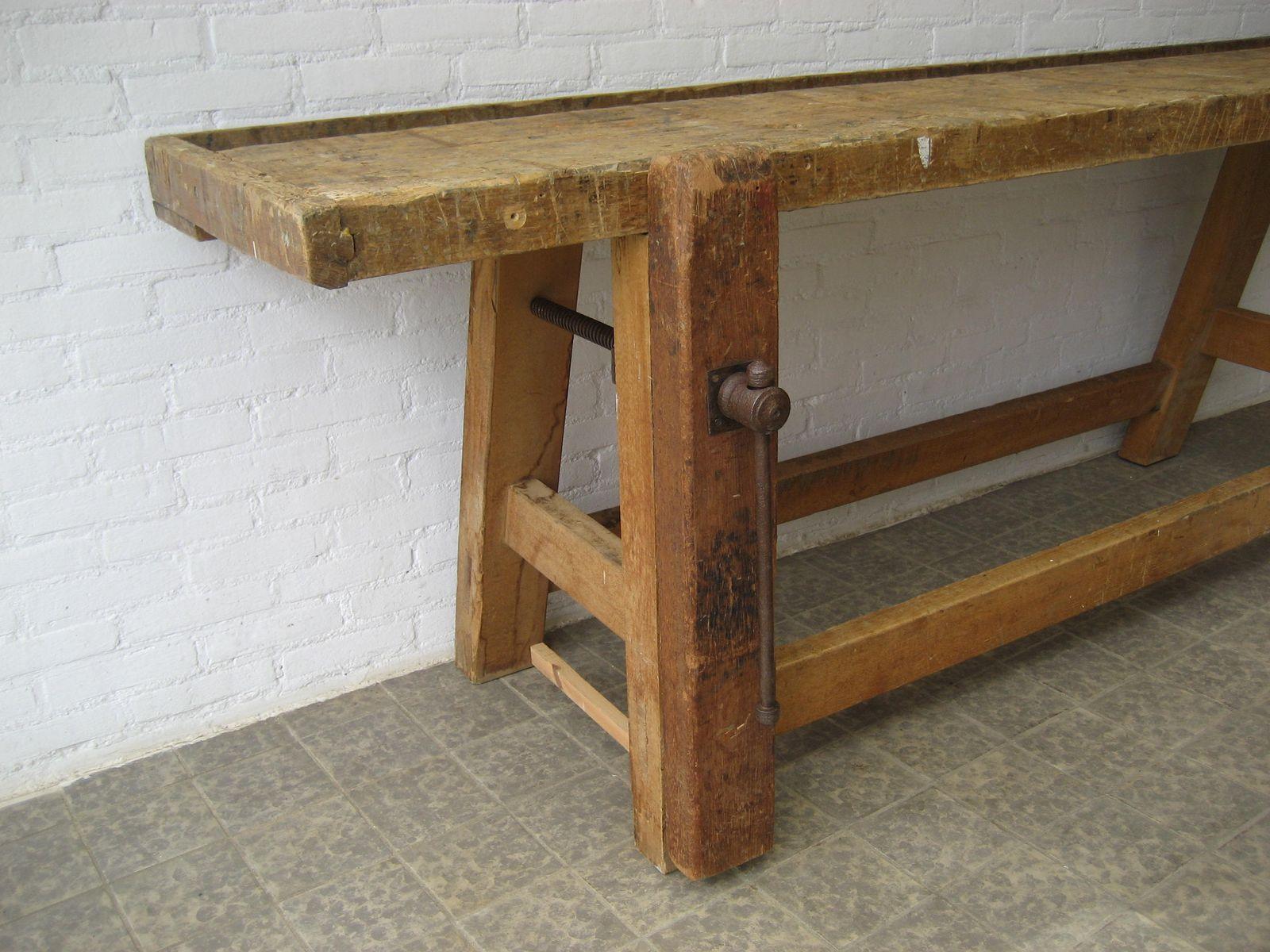 belgische industrielle werkbank mit schraubstock 1950er. Black Bedroom Furniture Sets. Home Design Ideas