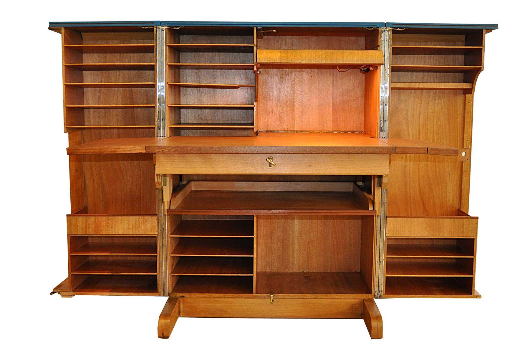 deutscher ausklappbarer schrank mit schreibtisch 1950er bei pamono kaufen. Black Bedroom Furniture Sets. Home Design Ideas