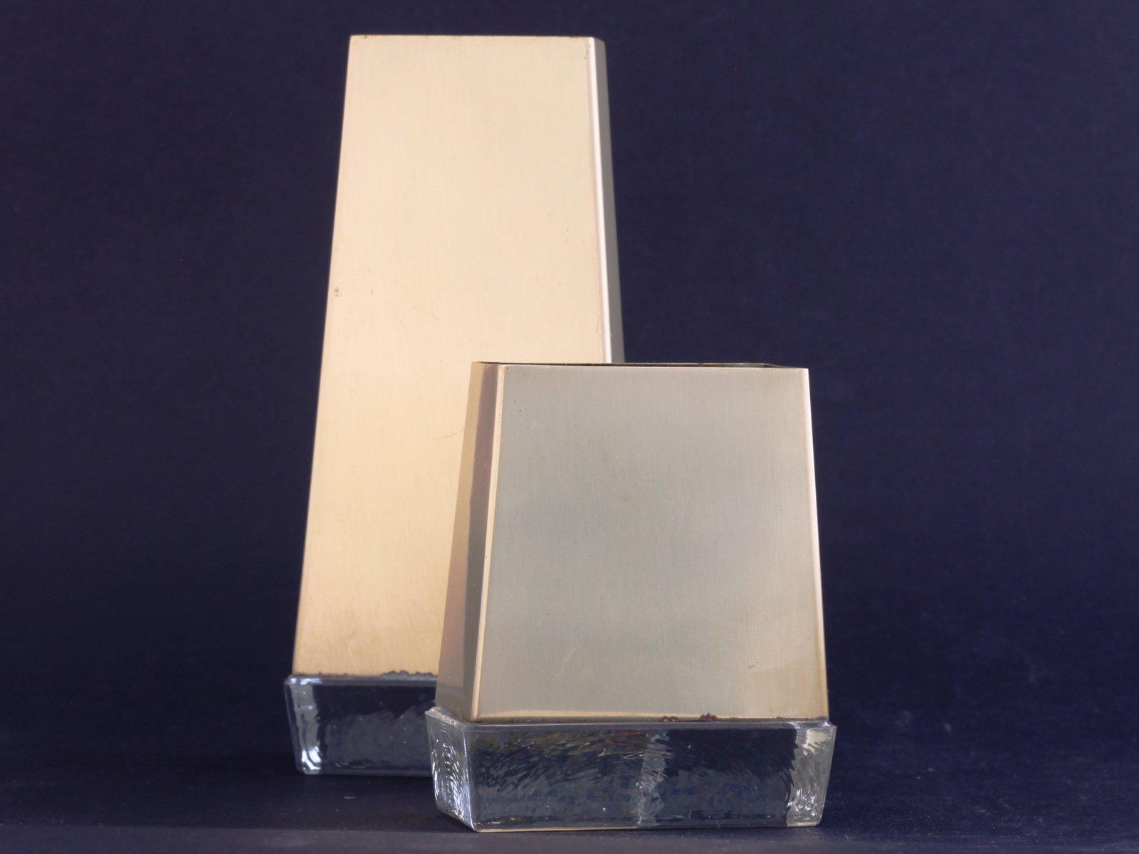 mid century vasen aus messing glas von gunnar ander f r ystad metall 2er set bei pamono kaufen. Black Bedroom Furniture Sets. Home Design Ideas