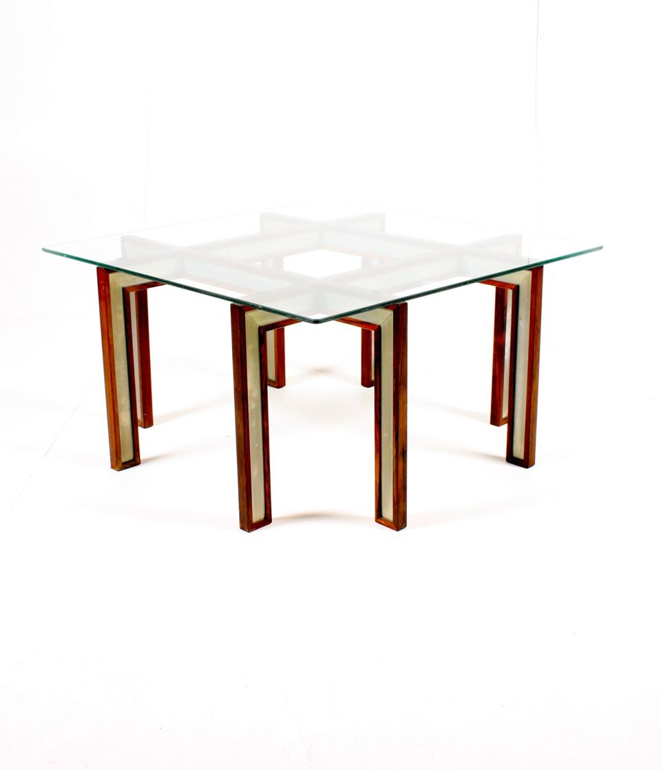 Danish Rosewood Aluminum And Glass Coffee Table 1950s For Sale At Pamono
