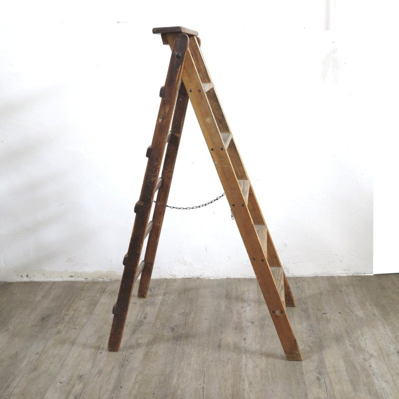 Industrial Wooden Foldable Ladder 1930s for sale at Pamono