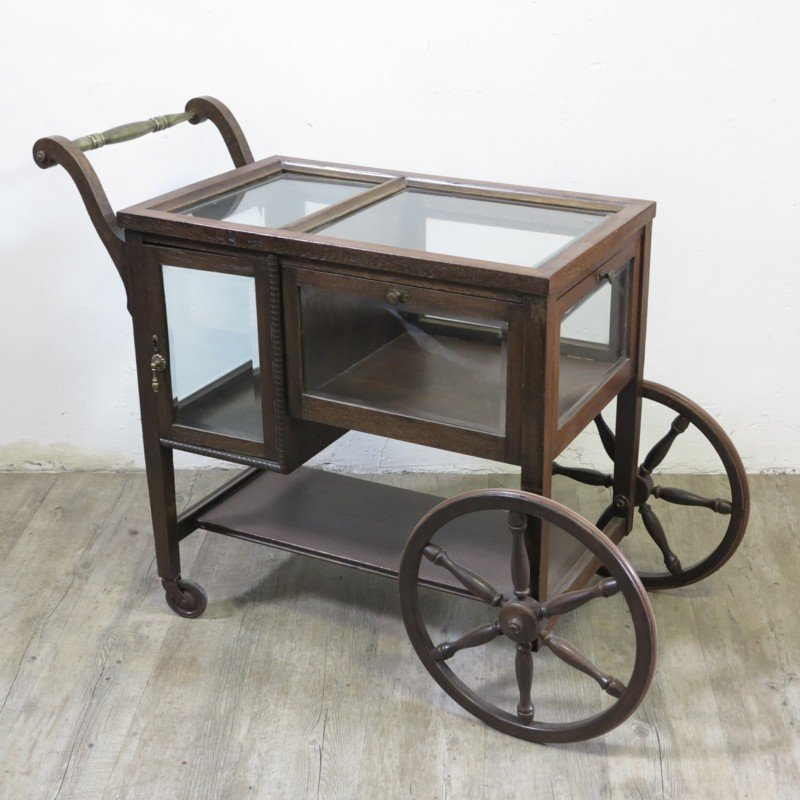 vintage serving trolley with display cabinet for sale at pamono. Black Bedroom Furniture Sets. Home Design Ideas
