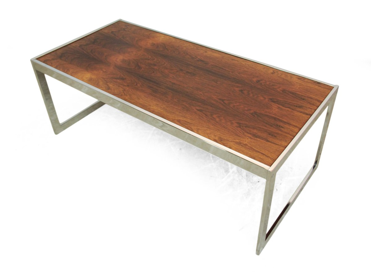 Rosewood And Chrome Coffee Table By Howard Miller For Sale At Pamono