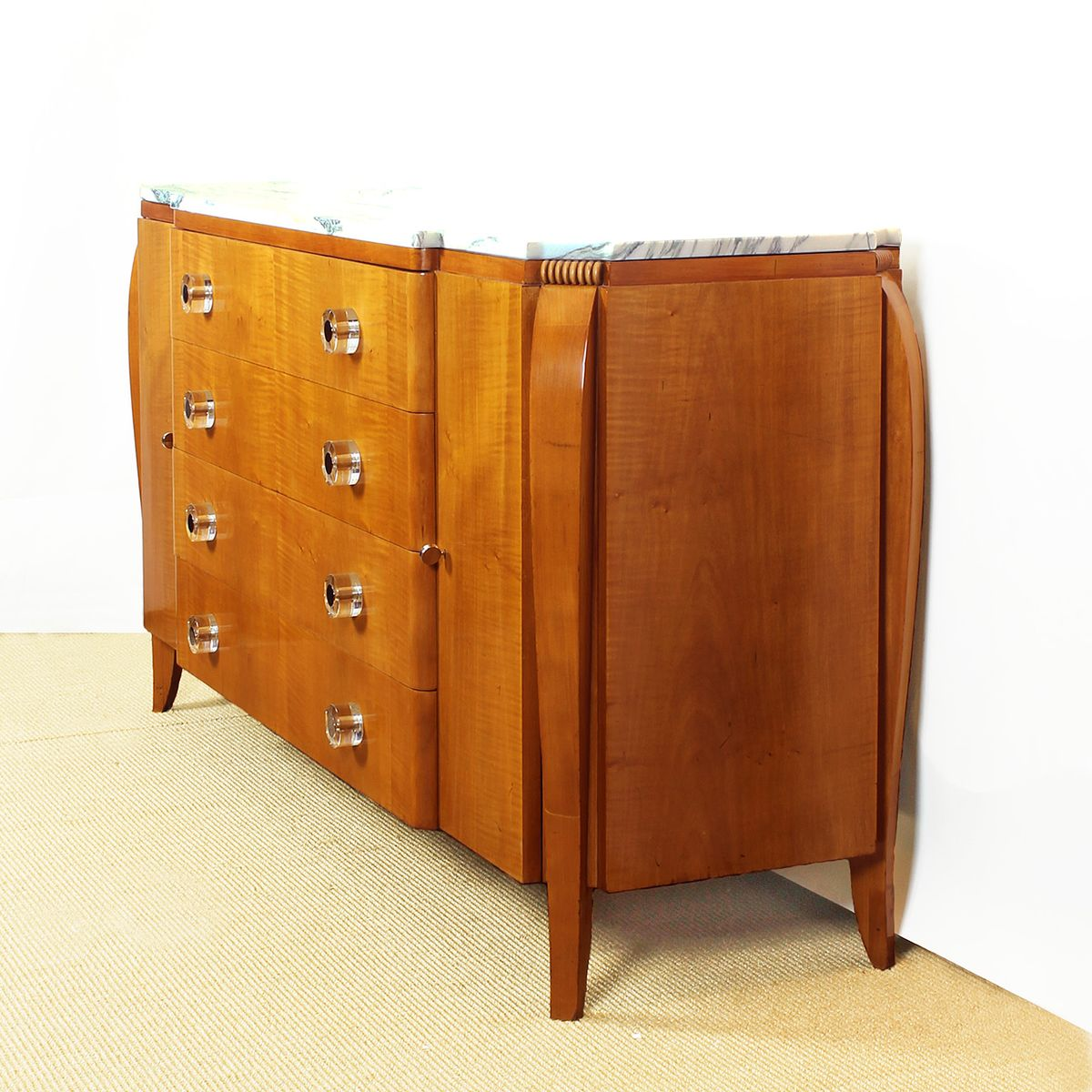 franz sische mahagoni ahorn kommode mit marmorplatte 1940er bei pamono kaufen. Black Bedroom Furniture Sets. Home Design Ideas