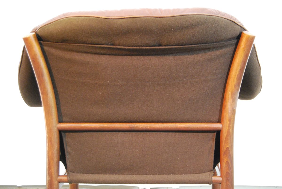 swedish brown leather armchair from g te m bel 1970s for. Black Bedroom Furniture Sets. Home Design Ideas