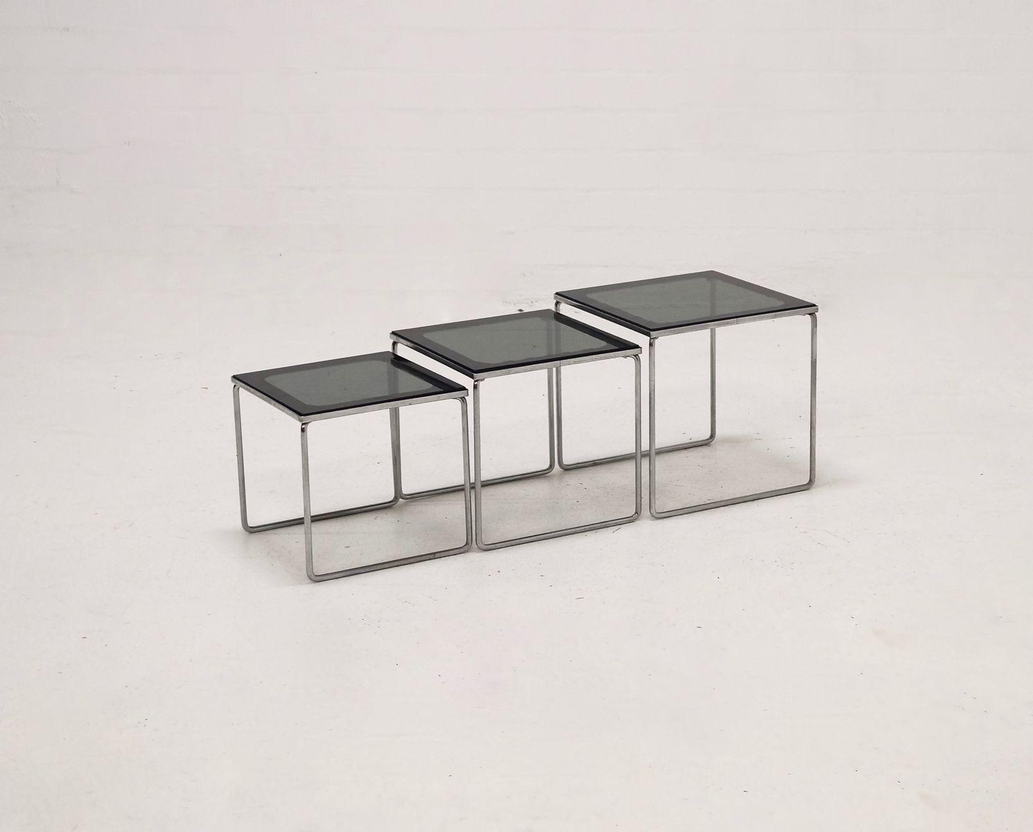 midcentury chrome and smoked glass nesting tables s set of  - midcentury chrome and smoked glass nesting tables s set of