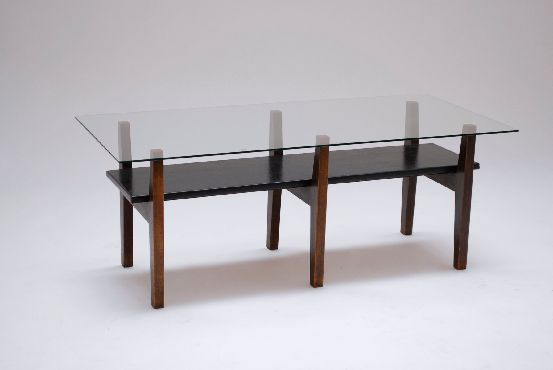Mid Century Vinyl And Glass Coffee Table For Sale At Pamono
