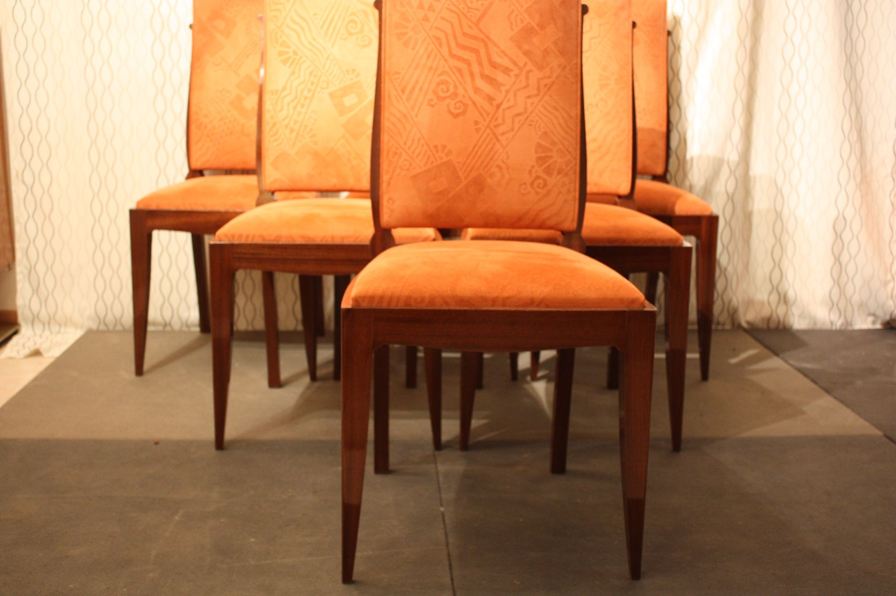 art deco dining chairs by gaston poisson set of 6 art deco dining chairs
