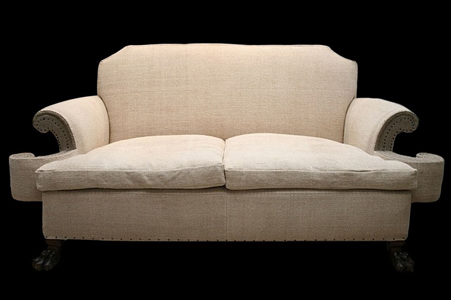 antique english linen sofa 1910 for sale at pamono. Black Bedroom Furniture Sets. Home Design Ideas