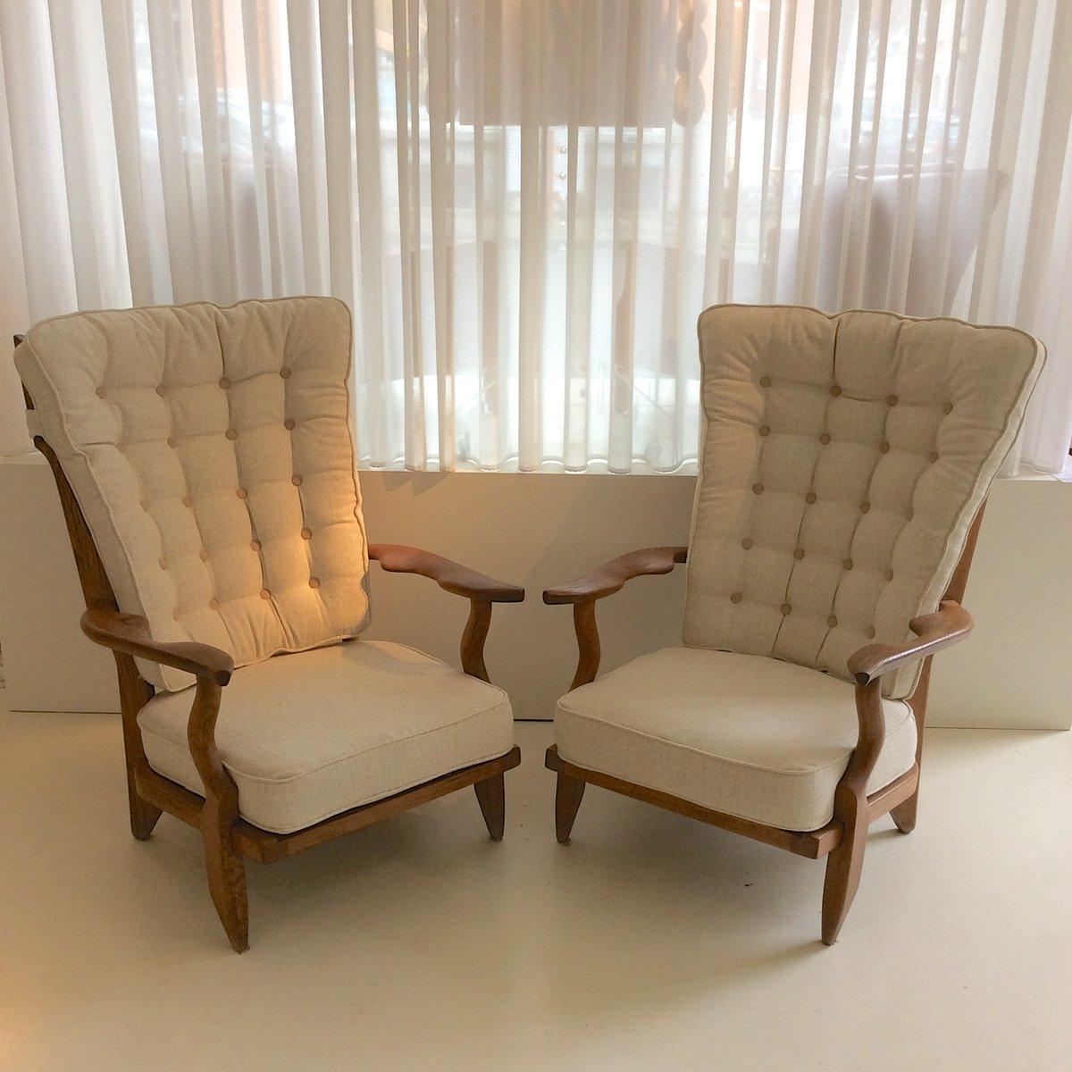 fauteuils grand repos par guillerme et chambron pour votre maison 1950s set de 2 en vente sur. Black Bedroom Furniture Sets. Home Design Ideas