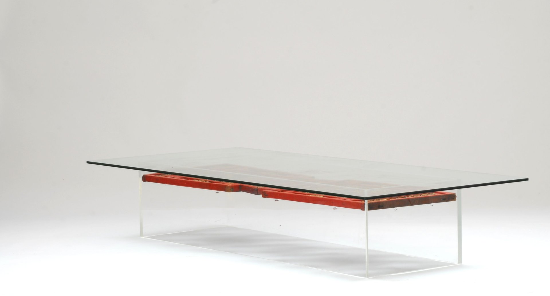 Lucite Coffee Table with Antique Chinese Panels for sale at Pamono