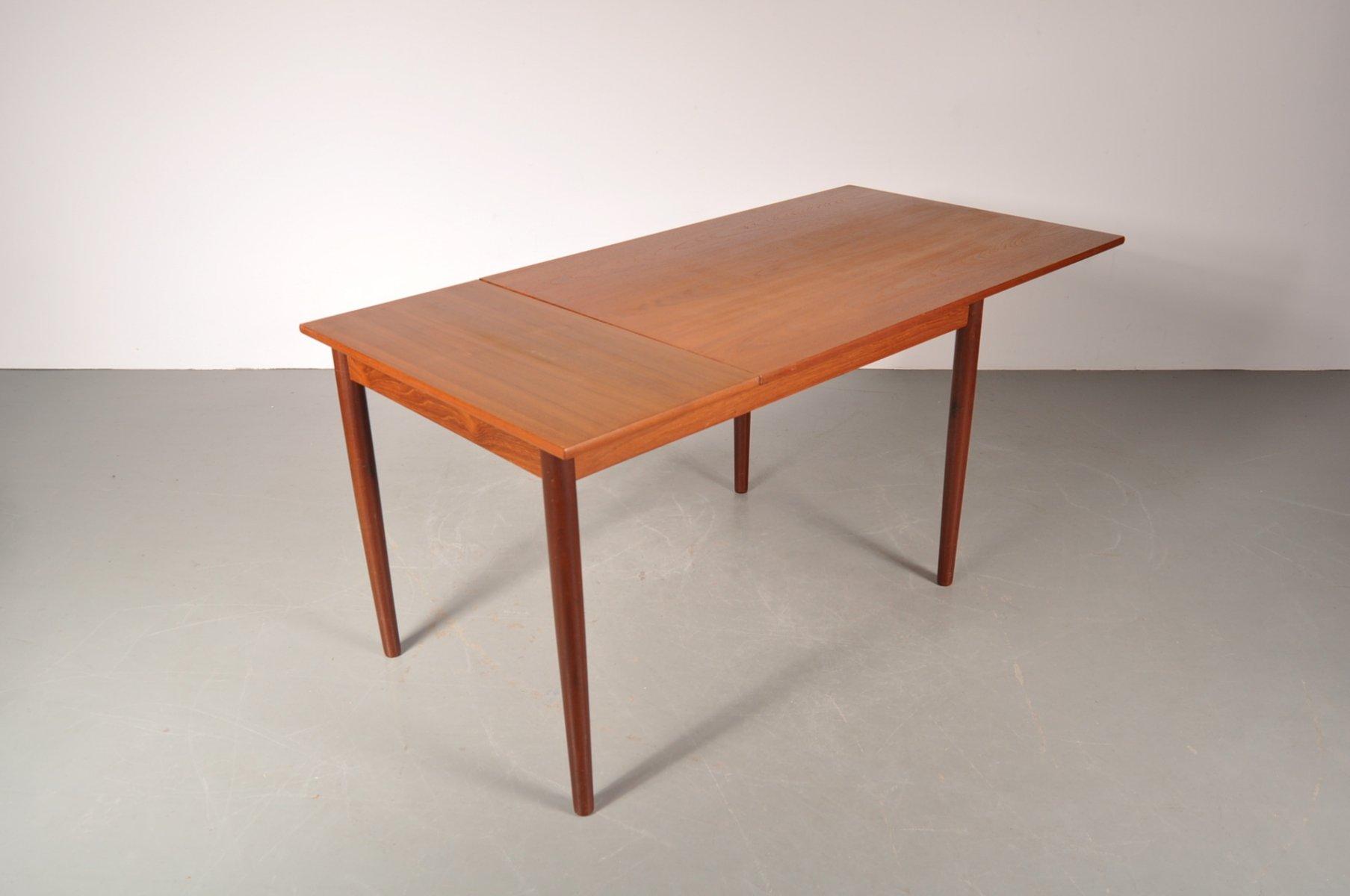 Scandinavian teak extending dining table 1950s for sale at pamono - Dining table scandinavian ...