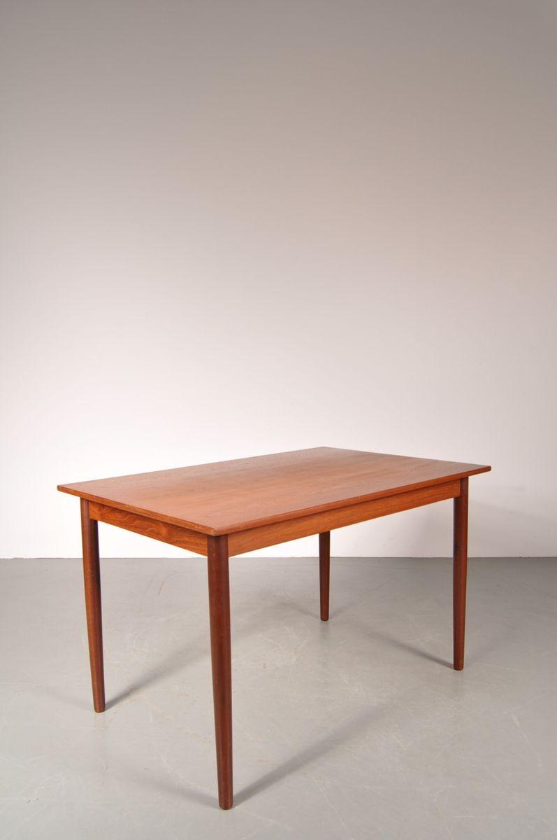 skandinavischer ausziehbarer teak esstisch 1950er bei pamono kaufen. Black Bedroom Furniture Sets. Home Design Ideas