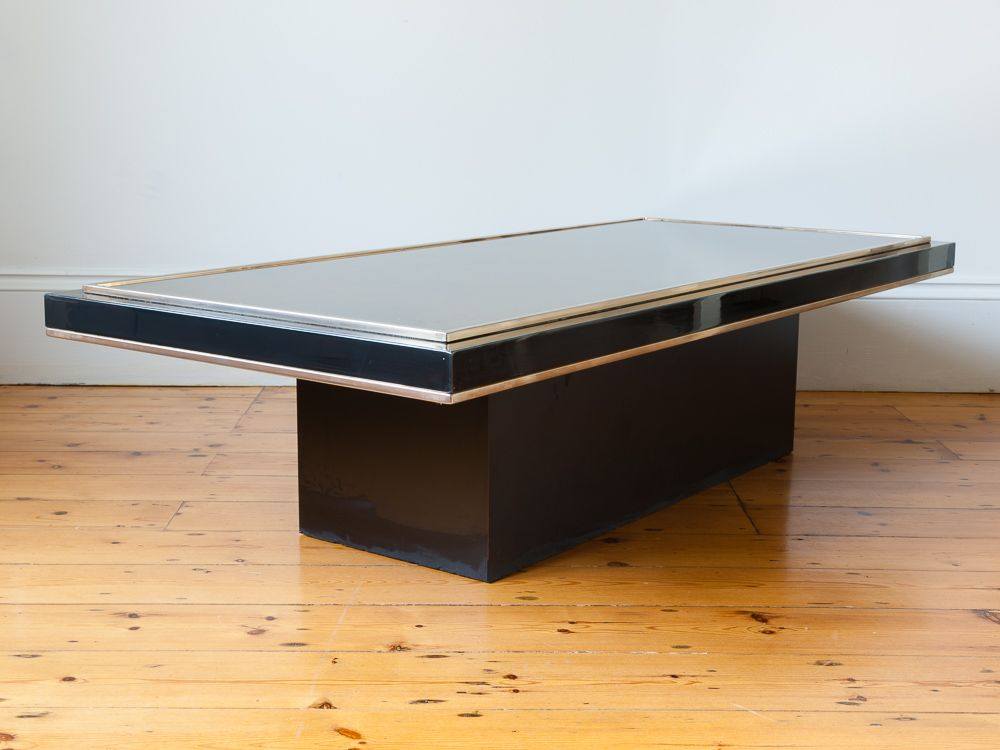 Rectangular mirrored coffee table by roger vanhevel 1970s for Mirrored rectangular coffee table