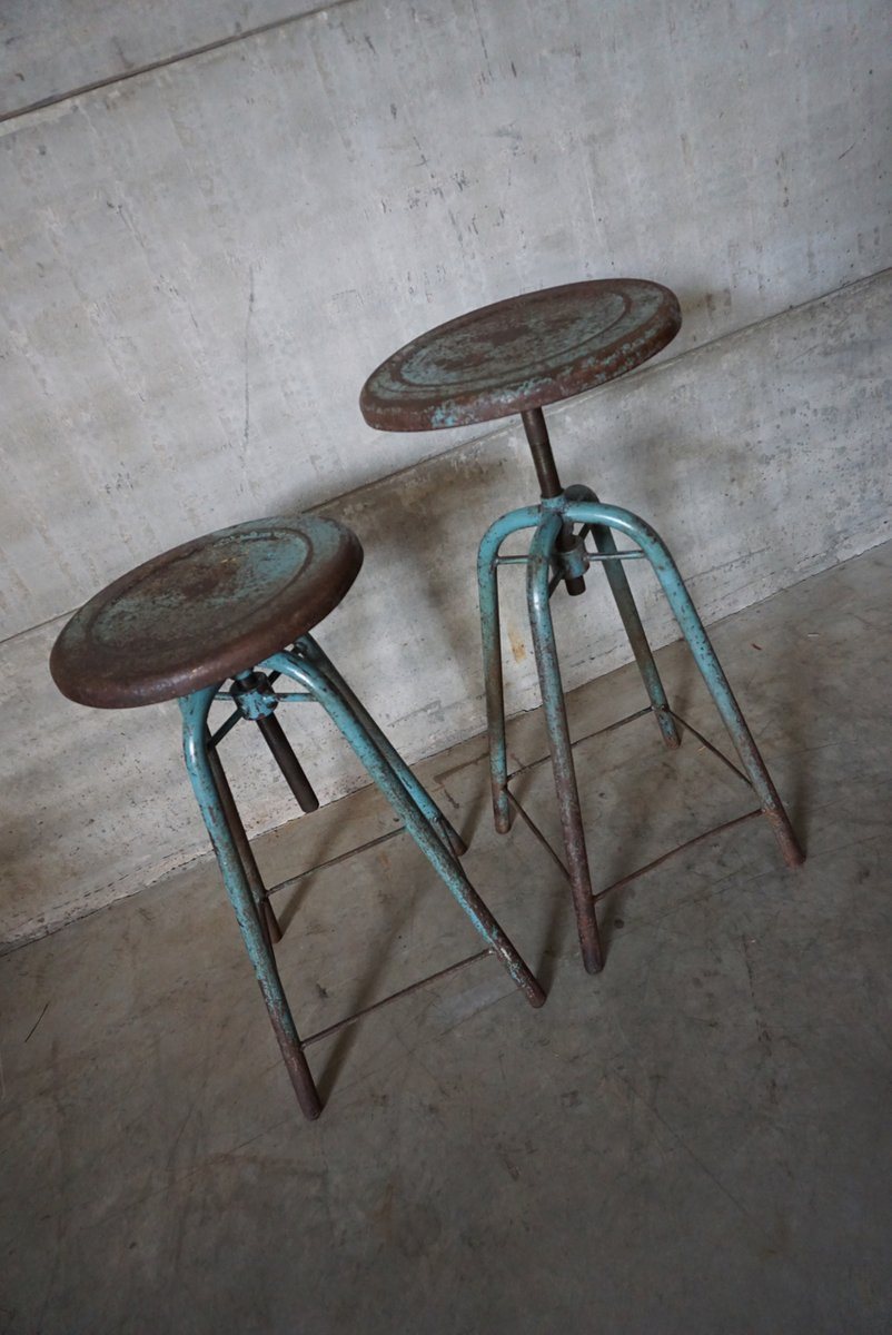 French Vintage Industrial Adjustable Stools 1950s Set of 2 & French Vintage Industrial Adjustable Stools 1950s Set of 2 for ... islam-shia.org