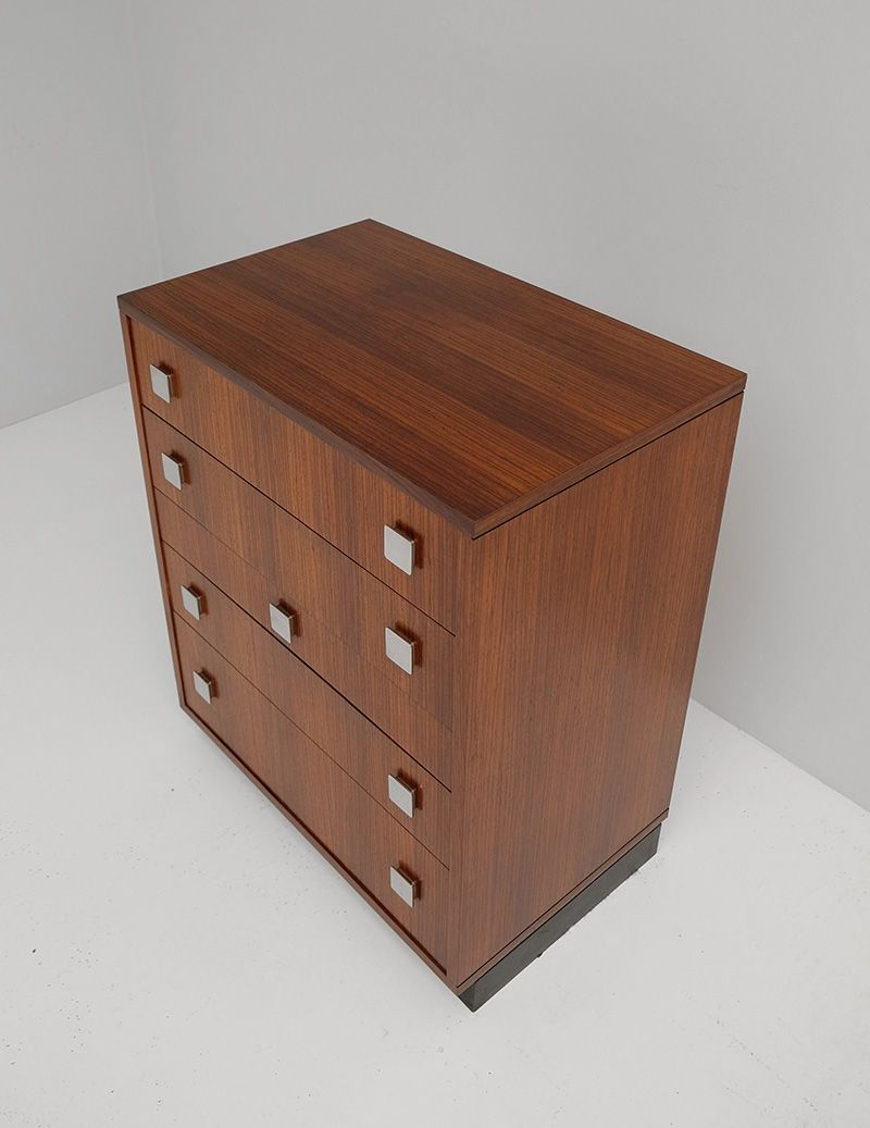 zingana wood chest of drawers with 5 drawers by alfred hendrickx for belform for sale at pamono. Black Bedroom Furniture Sets. Home Design Ideas