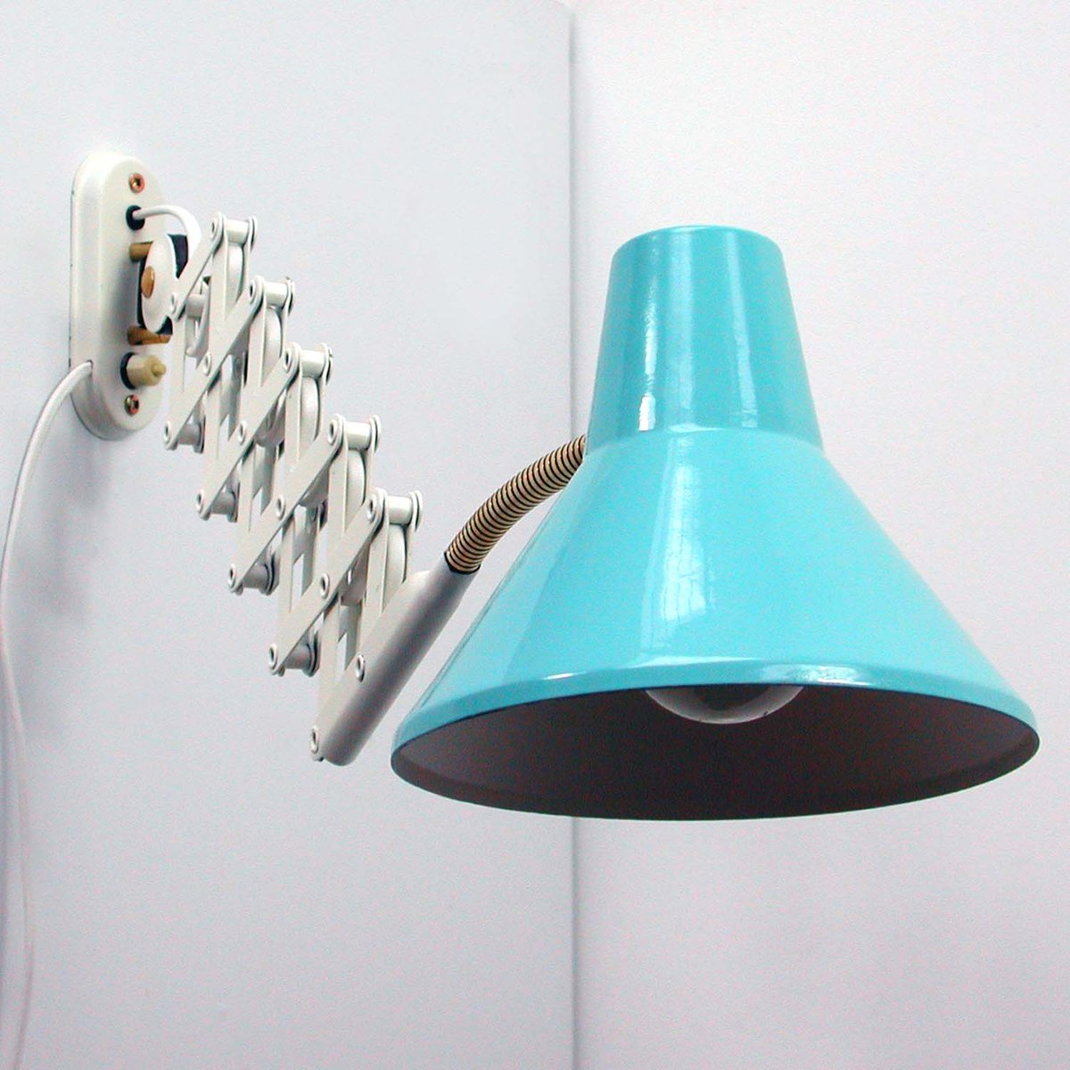 Wall Mounted Extendable Lamp : Mid-Century Vintage Italian Extendable Blue Scissor Wall Lamp, 1950s for sale at Pamono