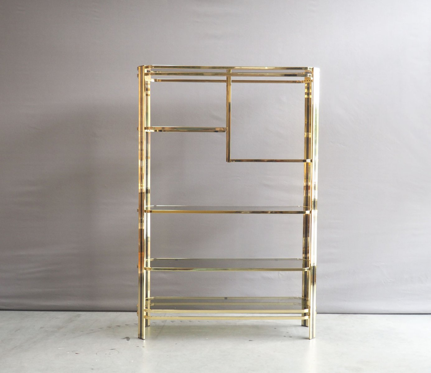 vintage hollywood regency brass and smoked glass etagere 1970s for sale at pamono. Black Bedroom Furniture Sets. Home Design Ideas