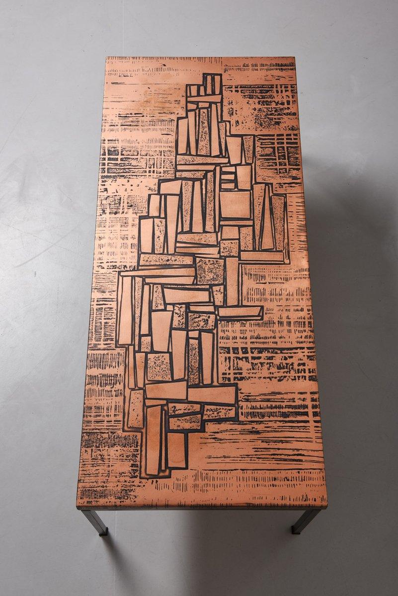 Kupfer Couchtisch mit Geätzter Oberfläche, 1960er bei