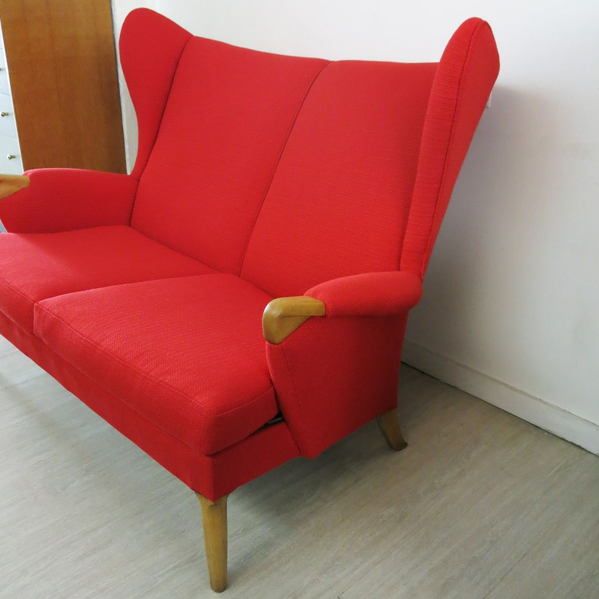 Vintage Red Wingback Sofa From Parker Knoll 1960s For Sale At Pamono