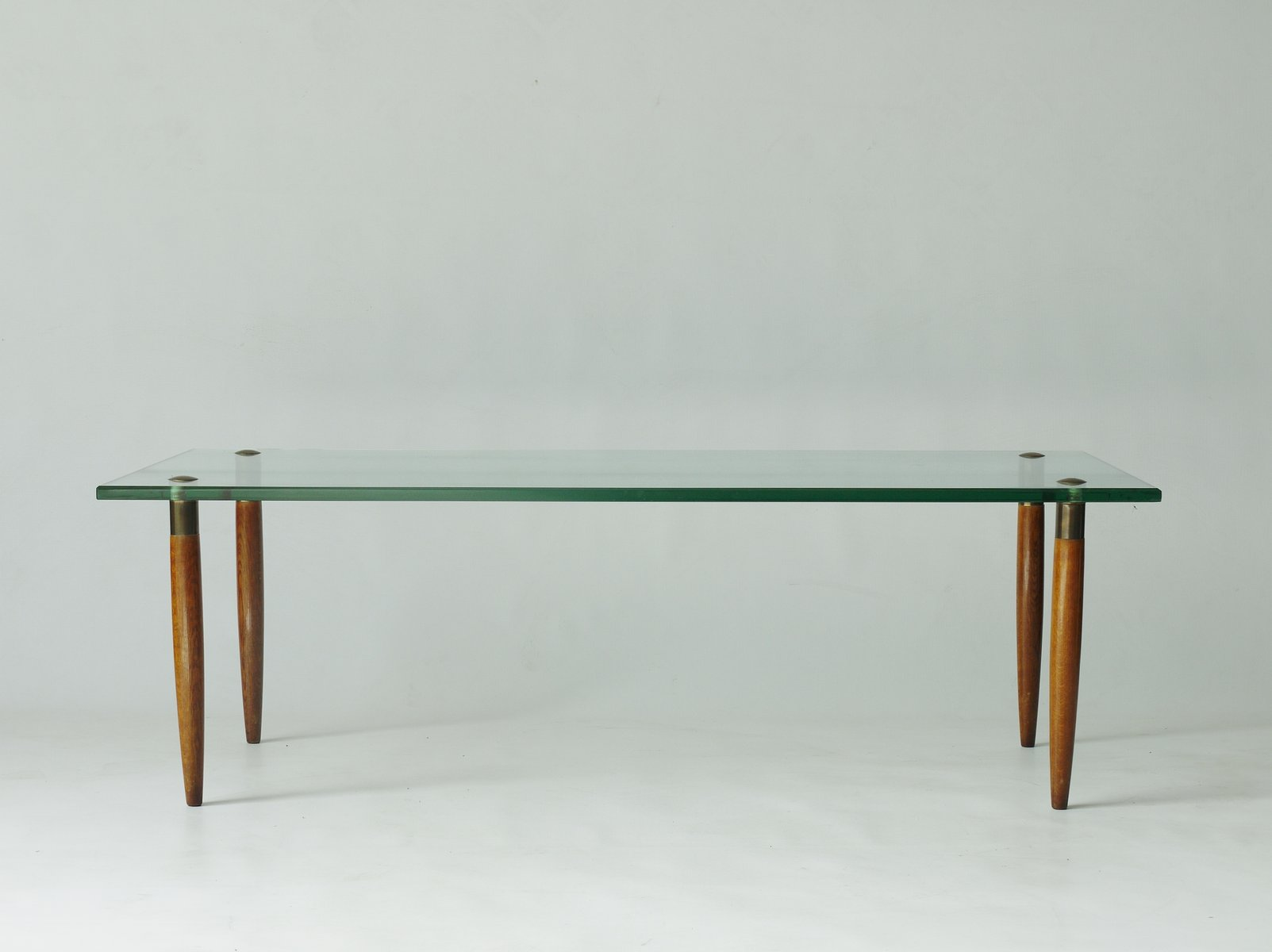 Walnut & Glass Coffee Table from Fontana Arte 1950s for sale at