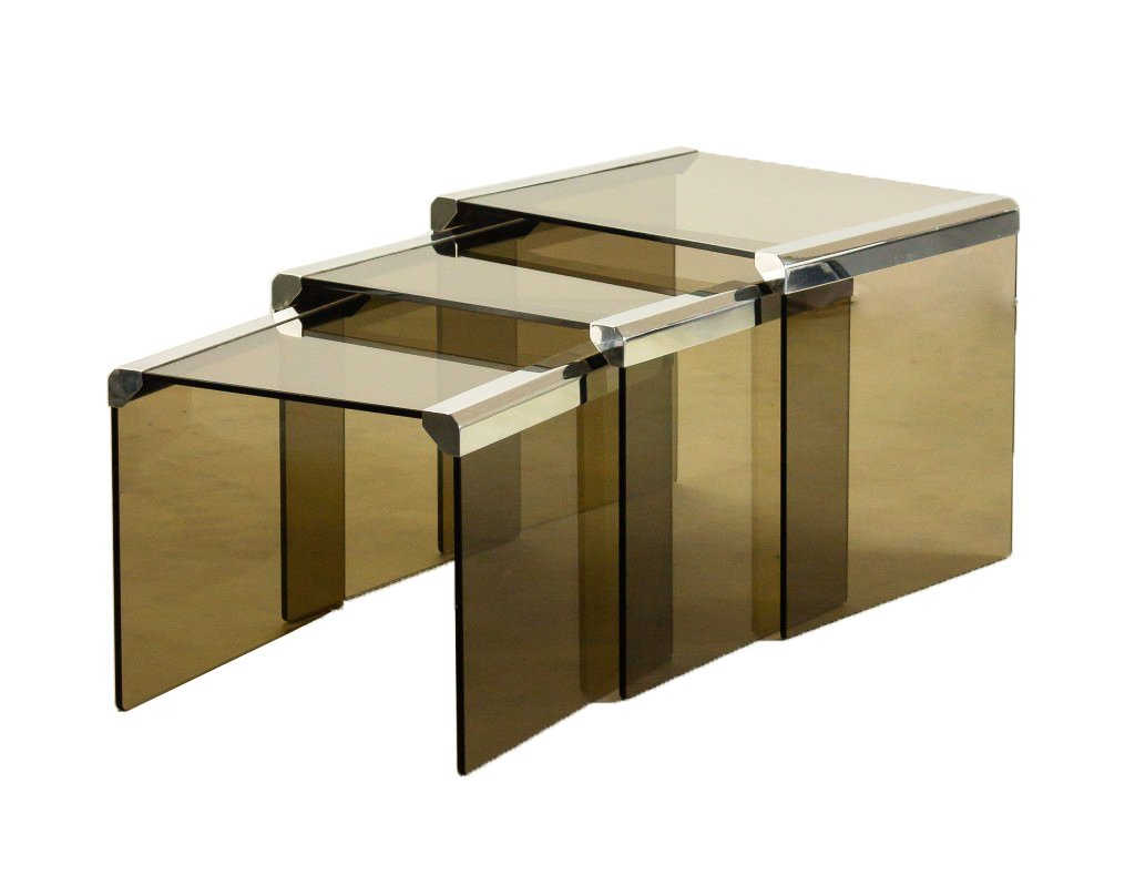 Italian gigognes glass and chrome nesting side tables by for Table gigogne