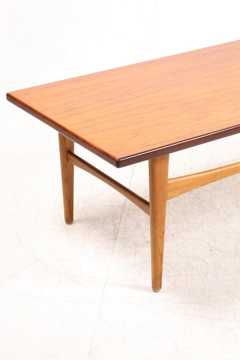 Danish Low Teak Oak Coffee Table 1950s For Sale At Pamono