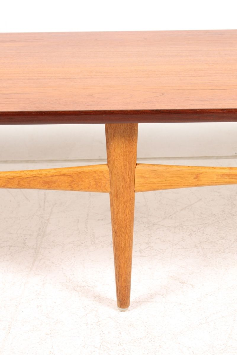 danish low teak & oak coffee table, 1950s for sale at pamono