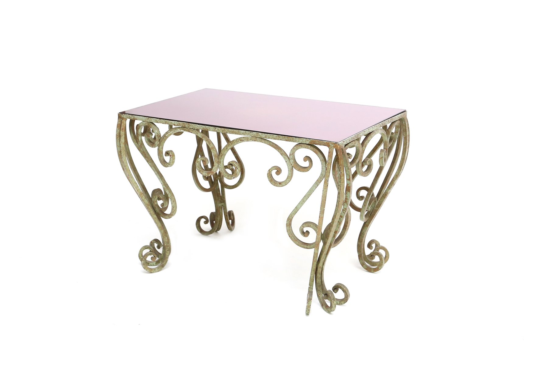 wrought iron coffee table with purple mirrored glass for sale at