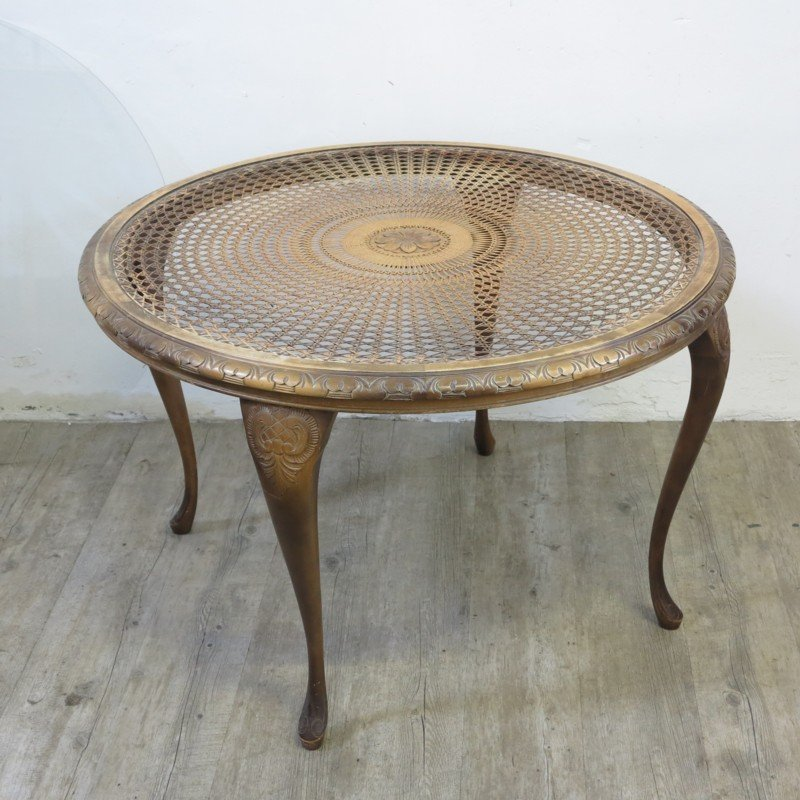 Vintage Round Woven Coffee Table For Sale At Pamono