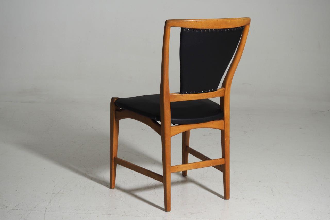 Sedie da pranzo in legno di albero da futto ed ecopelle scandinavia anni 39 60 set di 6 in - Sedie da pranzo ...