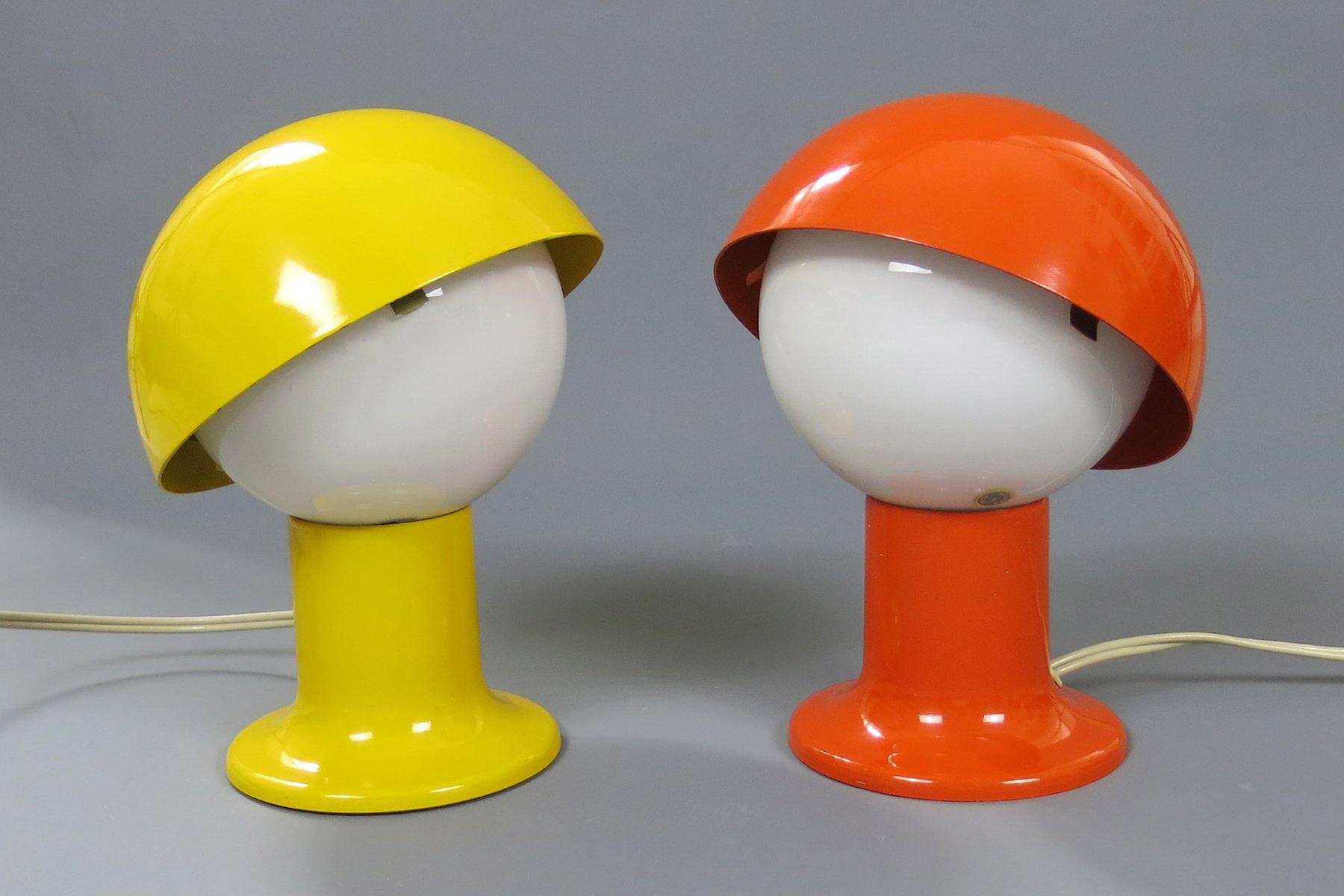 nachttischlampen in orange gelb von sven aage holm s rensen 2er set bei pamono kaufen. Black Bedroom Furniture Sets. Home Design Ideas