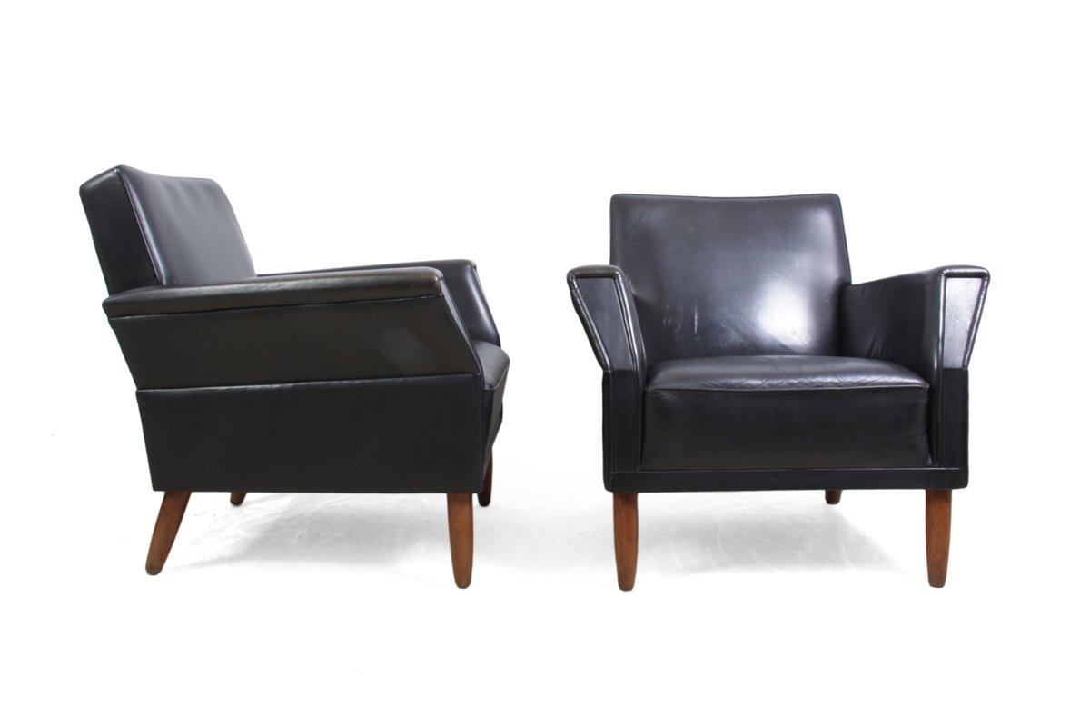 d nische st hle aus schwarzem leder 1960er 2er set bei pamono kaufen. Black Bedroom Furniture Sets. Home Design Ideas