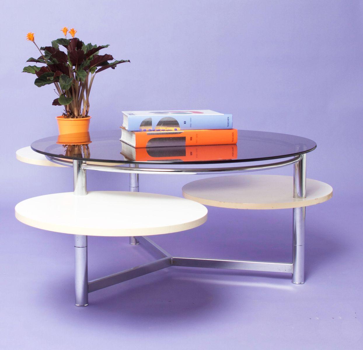 table basse circulaire en verre fum avec trois plateaux amovibles france 1970s en vente sur. Black Bedroom Furniture Sets. Home Design Ideas