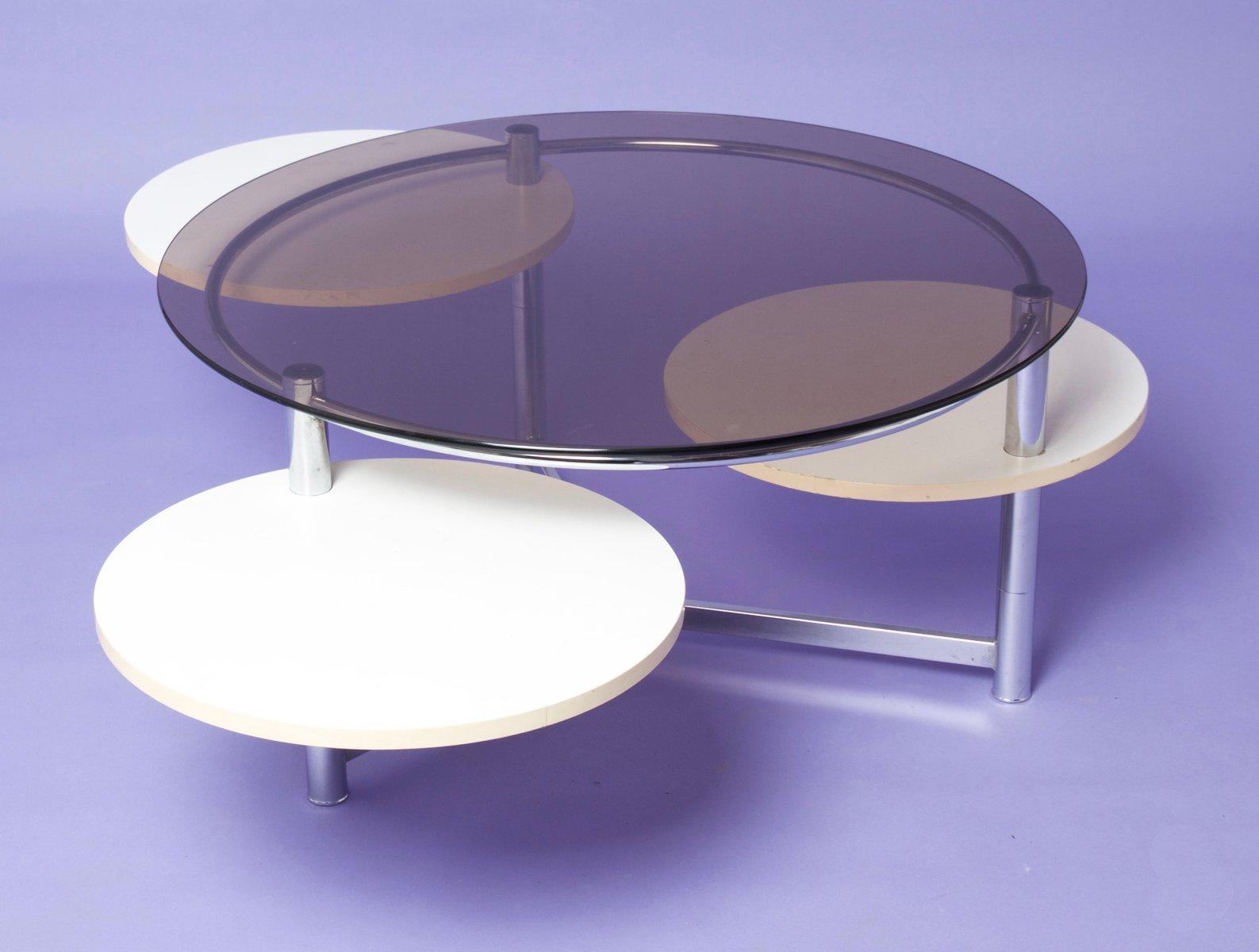 Table basse circulaire en verre fum avec trois plateaux - Table basse verre fume ...