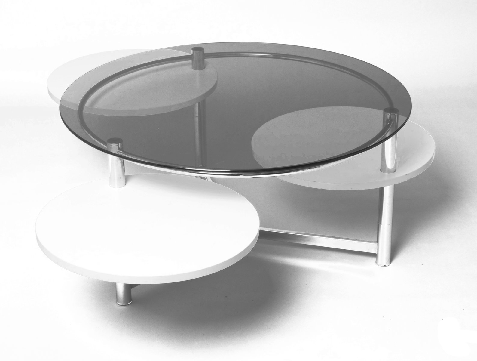 French circular smoked glass coffee table with 3 removable trays french circular smoked glass coffee table with 3 removable trays 1970s geotapseo Image collections