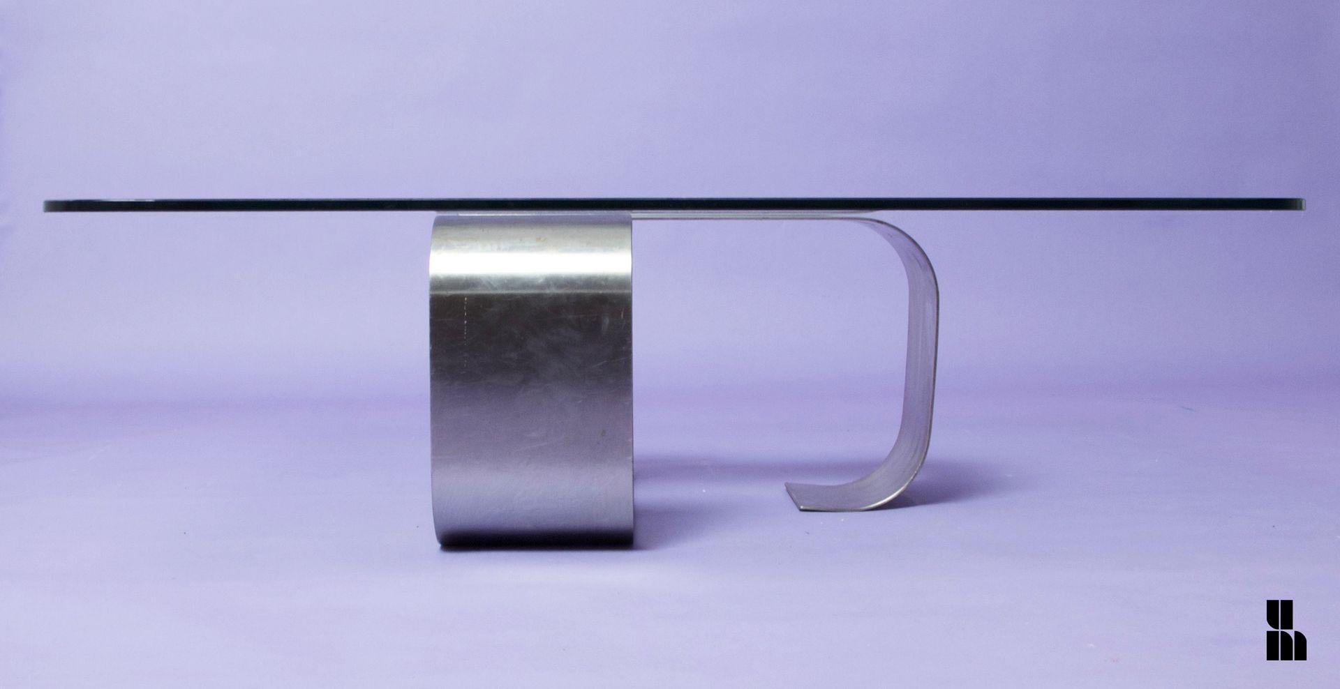 Französischer Naja Glas & Stahl Couchtisch von Francois ...