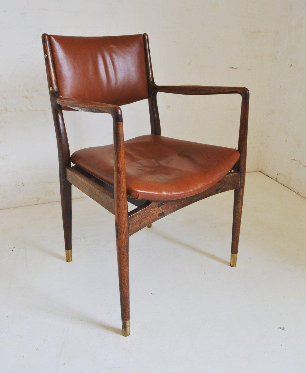 Fauteuil mid century en teck et cuir 1960s en vente sur - Fauteuil teck et cuir ...