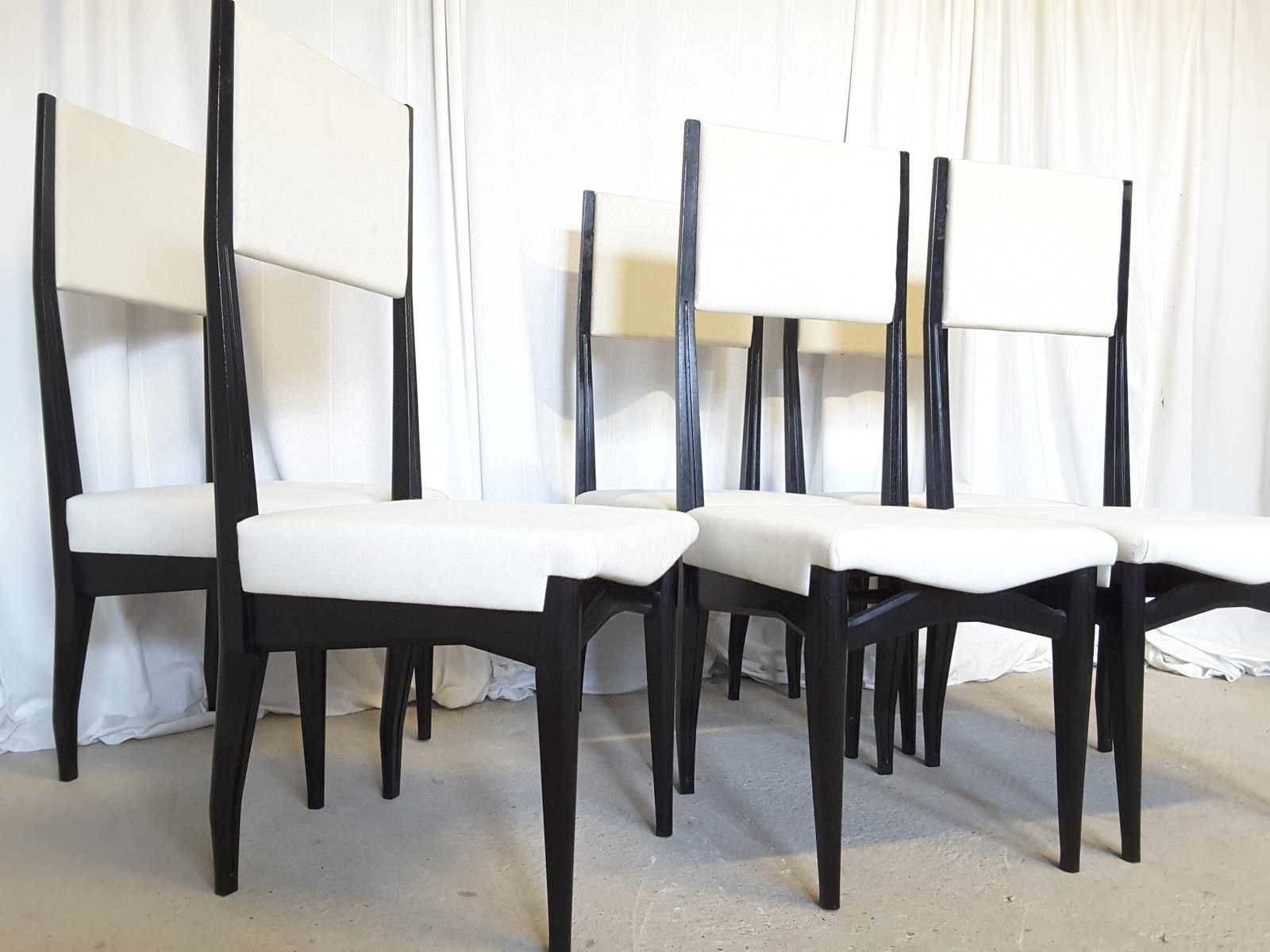 Italian High Back Dining Chairs 1950s Set of 6 for sale at Pamono