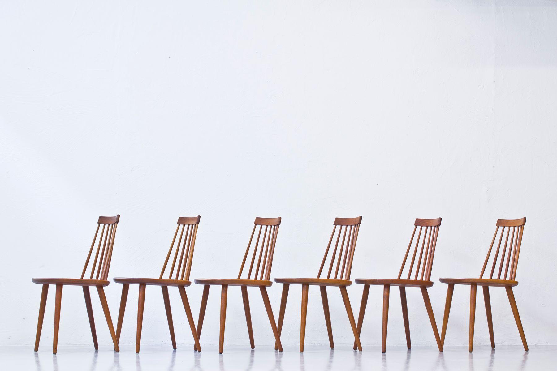 Pinocchio Esszimmerstühle von Yngve Ekström für Stolab, 1950er, 6er Set bei Pamono kaufen