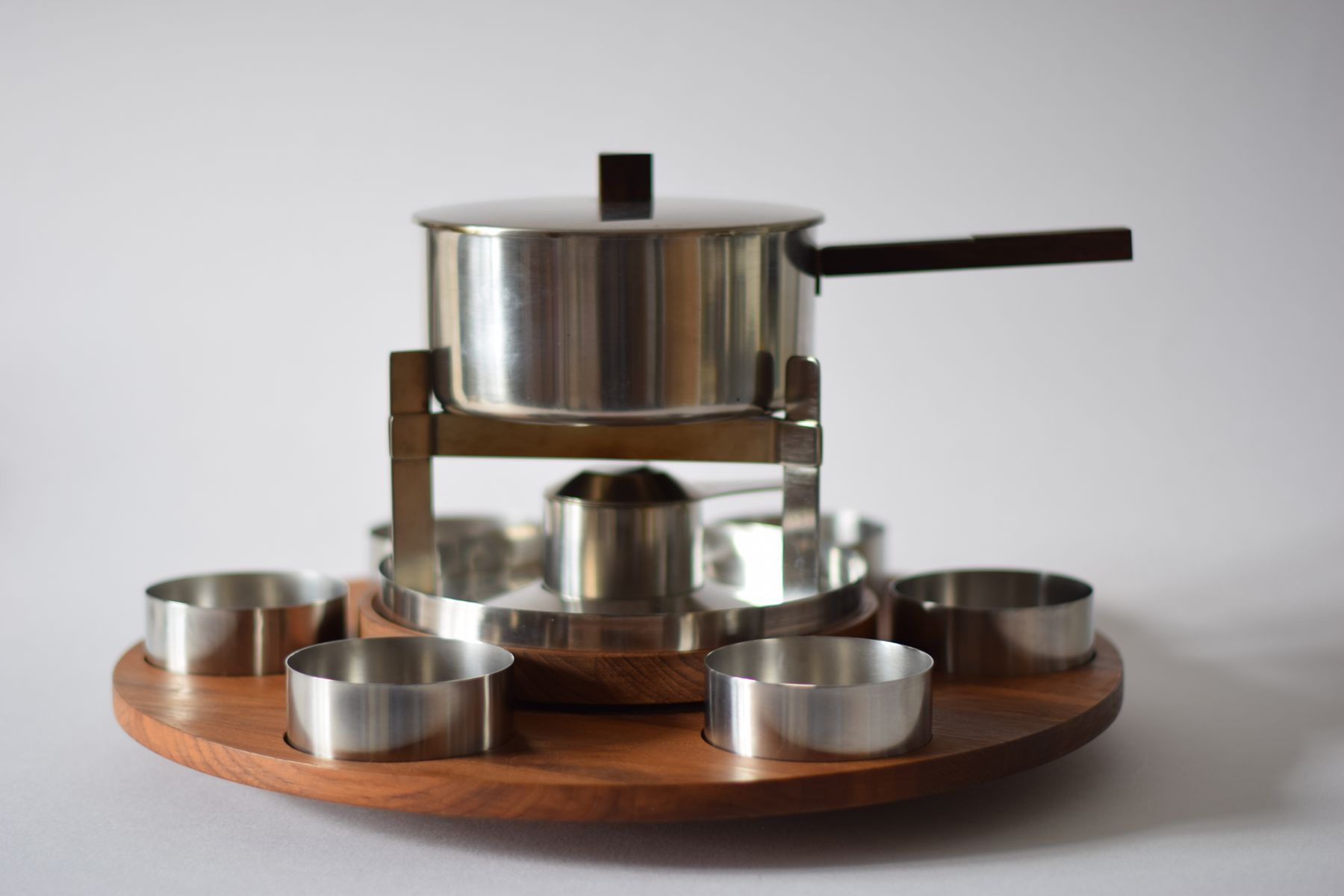 mid century danish fondue set with lazy susan by peter. Black Bedroom Furniture Sets. Home Design Ideas