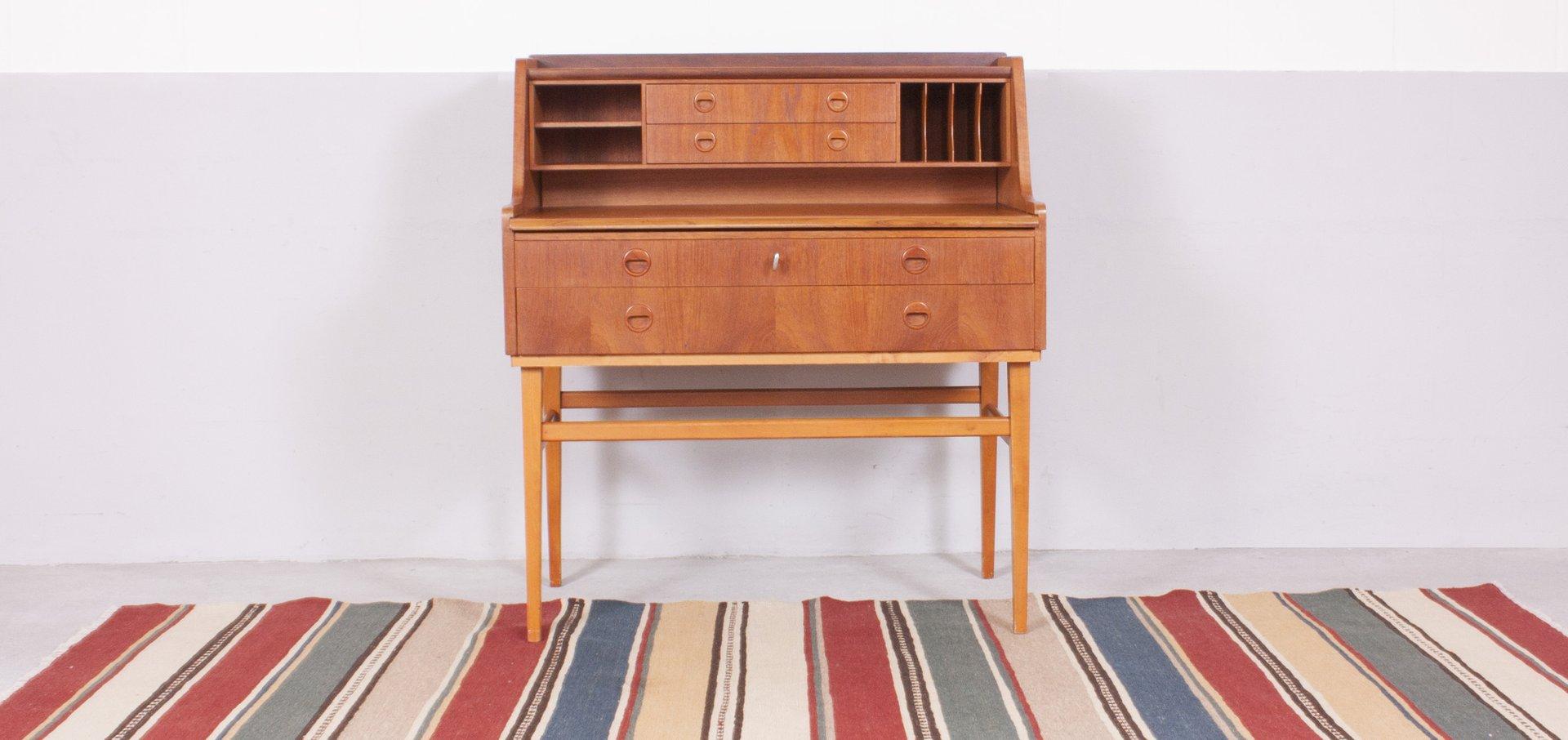 vintage danish teak beech secretaire for sale at pamono. Black Bedroom Furniture Sets. Home Design Ideas