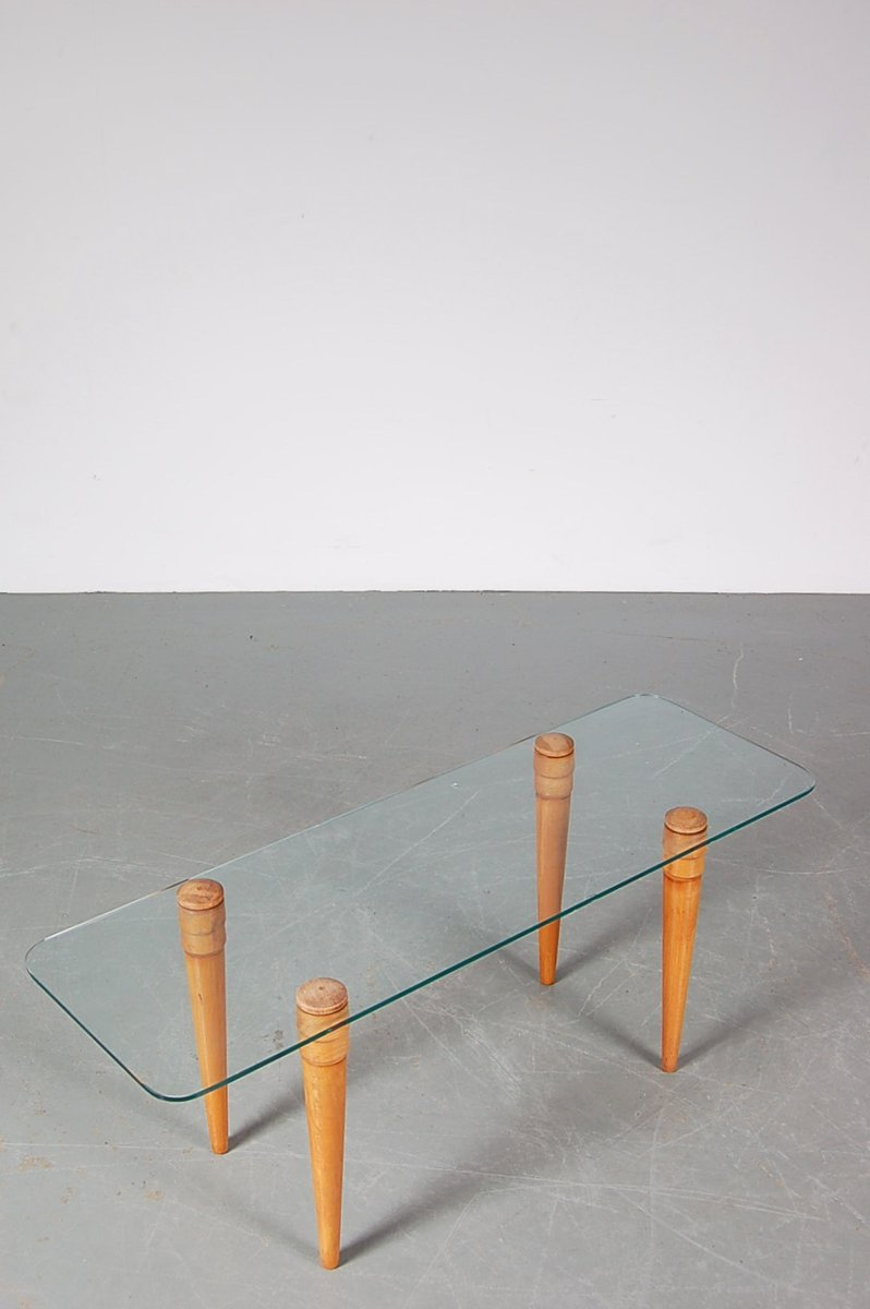 dutch wood and glass coffee table by simon krieks for bijenkorf  - dutch wood and glass coffee table by simon krieks for bijenkorf amsterdams