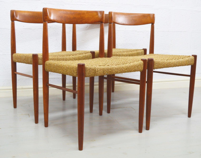 mid century teak seegras st hle 1960er 4er set bei pamono kaufen. Black Bedroom Furniture Sets. Home Design Ideas