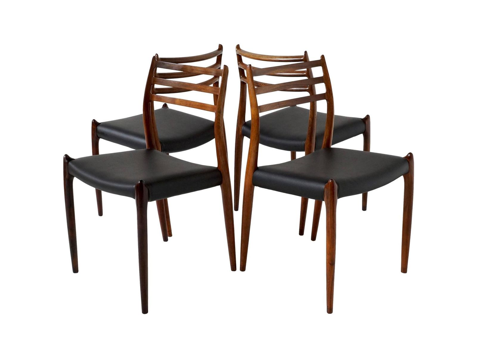 No rosewood dining chairs by niels o møller for j l