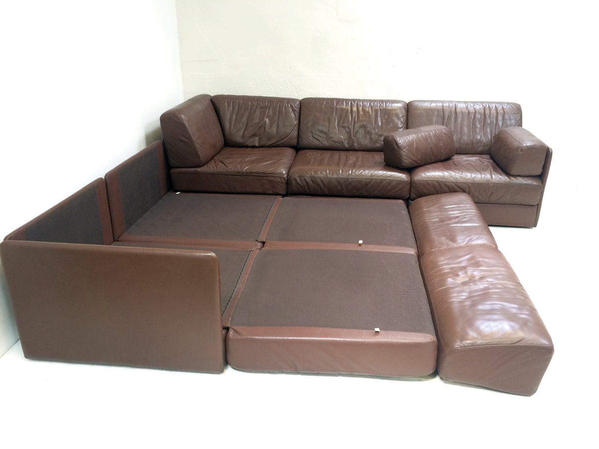 ds76 five section modular leather corner sofa from de sede 1970s 1