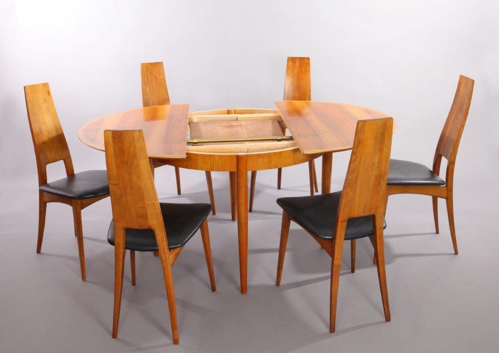 German Cherry Wood Extendable Dining Table with Six Chairs  : german cherry wood extendable dining table with six chairs by ernst martin dettinger for lu bke 1960s set of 7 1 from www.pamono.eu size 1024 x 725 jpeg 57kB